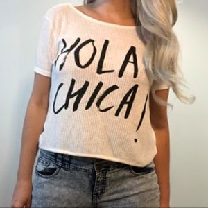 """H&M DIVIDED white """"Hola Chica!"""" Backless top"""